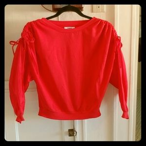 KENSIE , RED/CORAL Puff sleeve pull over sweater.